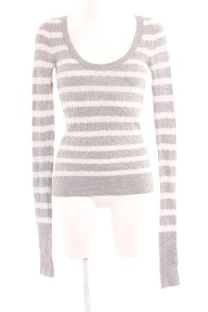 Abercrombie & Fitch Strickpullover hellgrau-weiß Streifenmuster Casual-Look