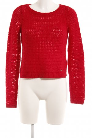 Abercrombie & Fitch Strickpullover rot Lochstrickmuster Casual-Look