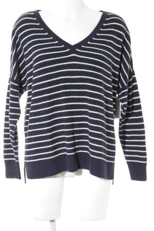 Abercrombie & Fitch Strickpullover weiß-dunkelblau Streifenmuster Casual-Look
