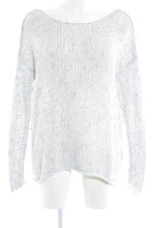Abercrombie & Fitch Strickpullover weiß-grau Lochstrickmuster Casual-Look