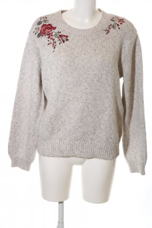 Abercrombie & Fitch Knitted Sweater natural white flower pattern casual look