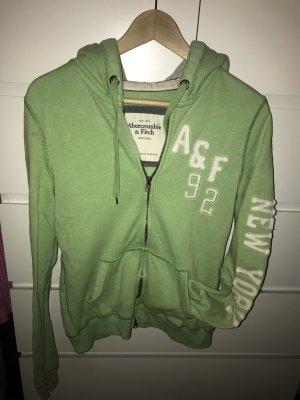 Abercrombie & Fitch Veste sweat vert gazon-blanc cassé