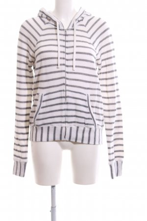 Abercrombie & Fitch Sweat Jacket white-light grey striped pattern casual look
