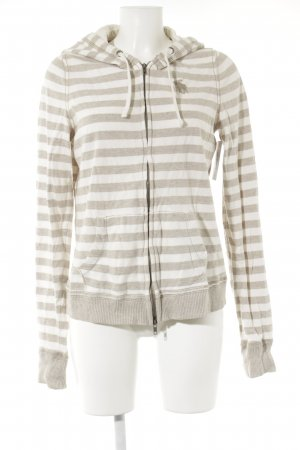 Abercrombie & Fitch Sweatjacke creme-beige Streifenmuster Casual-Look