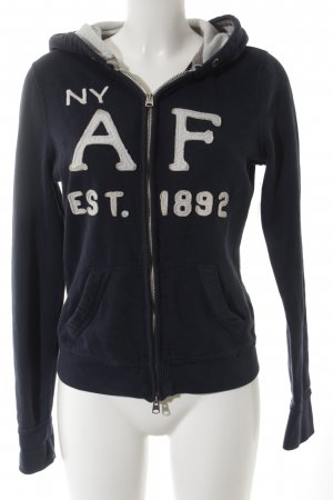 Abercrombie & Fitch Sweat Jacket dark blue-light grey embroidered lettering