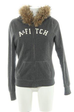 Abercrombie & Fitch Sweatjacke dunkelgrau-hellbraun Schriftzug gestickt