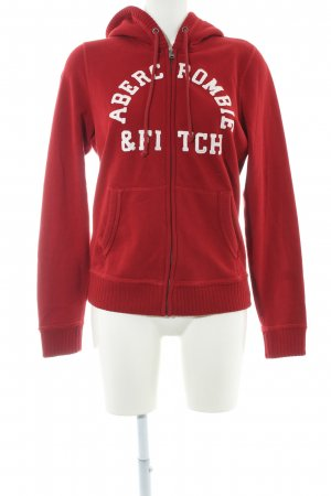 Abercrombie & Fitch Sweat Jacket dark red-white graphic pattern casual look