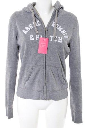 Abercrombie & Fitch Veste sweat gris clair moucheté style athlétique