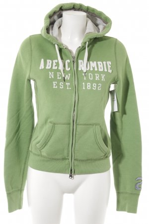 Abercrombie & Fitch Sweat Jacket grass green-white athletic style