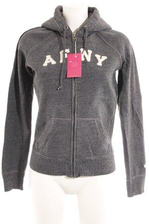 Abercrombie & Fitch Sweatjacke grau Schriftzug gestickt Casual-Look