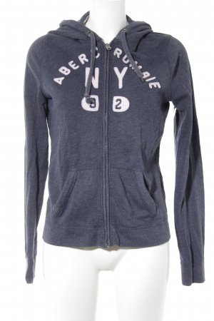 Abercrombie & Fitch Sweat Jacket slate-gray-light pink embroidered lettering