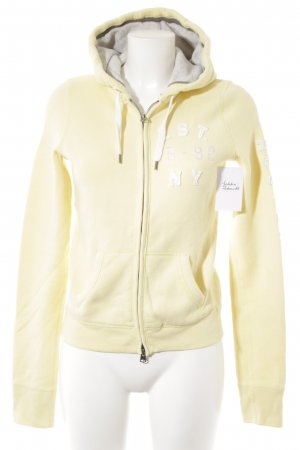 Abercrombie & Fitch Sweat Jacket pale yellow-white athletic style