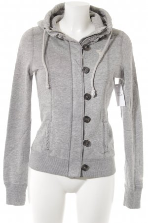 Abercrombie & Fitch Sweat Jacket light grey flecked athletic style