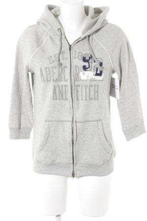 Abercrombie & Fitch Veste sweat gris clair lettrage imprimé style décontracté