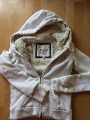 Abercrombie & Fitch Hooded Sweatshirt cream-pale yellow cotton