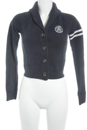 Abercrombie & Fitch Sweatjacke weiß-dunkelblau sportlicher Stil