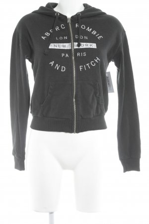 Abercrombie & Fitch Sweat Jacket white-black printed lettering athletic style