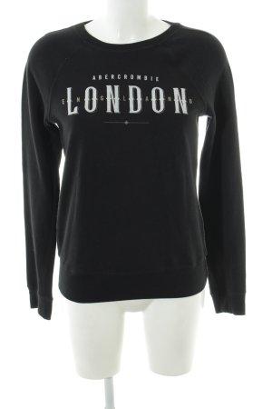 Abercrombie & Fitch Sweatshirt schwarz-weiß Schriftzug gedruckt Casual-Look