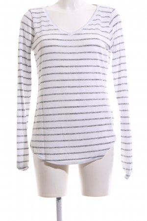 Abercrombie & Fitch Sweat Shirt white-light grey striped pattern casual look