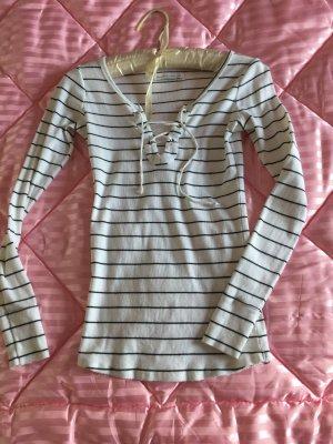 Abercrombie & Fitch Sweatshirt Shirt Pullover Gr.XS schwarz weiß Ripp