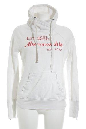 Abercrombie & Fitch Felpa bianco-rosa caratteri ricamati stile atletico