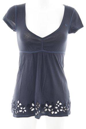 Abercrombie & Fitch T-Shirt dunkelblau Blumenmuster schlichter Stil