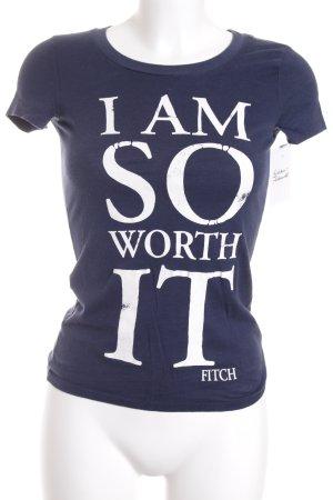 Abercrombie & Fitch T-Shirt dunkelblau-weiß Schriftzug gedruckt Casual-Look