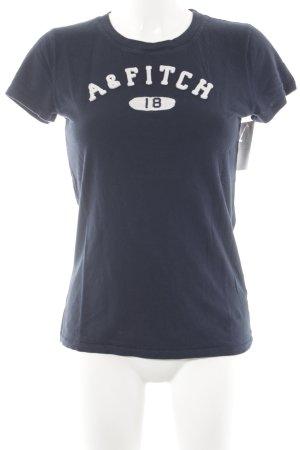 Abercrombie & Fitch Camiseta azul oscuro-blanco letras bordadas look casual