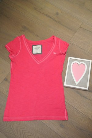 Abercrombie & Fitch T-Shirt Gr. 2 V-Neck pink/fuchsia