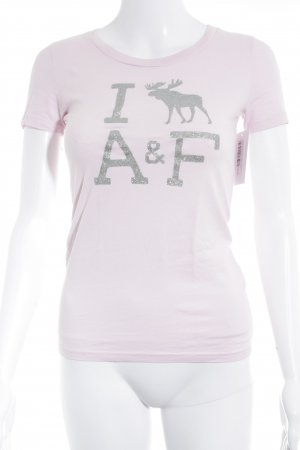 Abercrombie & Fitch T-Shirt hellrosa Schriftzug gedruckt schlichter Stil