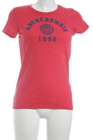 Abercrombie & Fitch T-Shirt hellrot Schriftzug gestickt Casual-Look