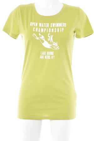 Abercrombie & Fitch T-Shirt limettengelb-weiß Schriftzug gedruckt