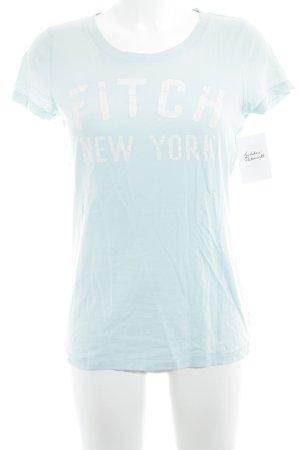 Abercrombie & Fitch T-Shirt türkis-wollweiß Schriftzug gedruckt