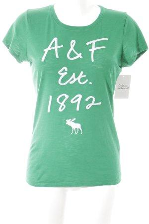 Abercrombie & Fitch T-Shirt waldgrün Schriftzug gestickt schlichter Stil