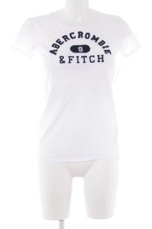 Abercrombie & Fitch T-Shirt weiß-dunkelblau Schriftzug gestickt