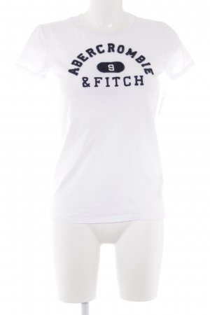 Abercrombie & Fitch T-Shirt white-dark blue embroidered lettering