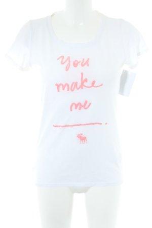 Abercrombie & Fitch T-Shirt weiß Schriftzug gedruckt Casual-Look