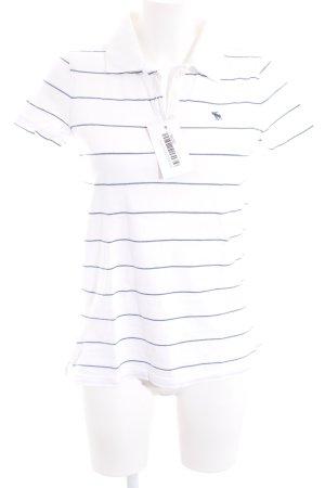 Abercrombie & Fitch T-Shirt weiß-stahlblau Streifenmuster schlichter Stil