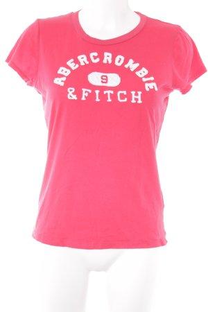 Abercrombie & Fitch T-Shirt ziegelrot-weiß Schriftzug gestickt sportlicher Stil