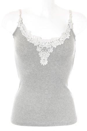Abercrombie & Fitch Top de tirantes gris claro-blanco look casual