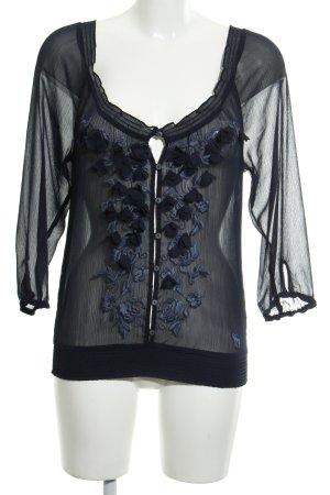 Abercrombie & Fitch Transparenz-Bluse dunkelblau Romantik-Look