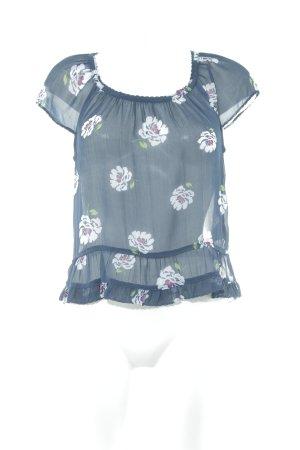 Abercrombie & Fitch Transparenz-Bluse dunkelblau-weiß Blumenmuster