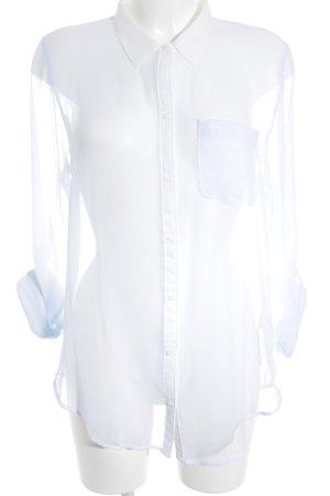 Abercrombie & Fitch Blusa transparente azul celeste-blanco estilo clásico