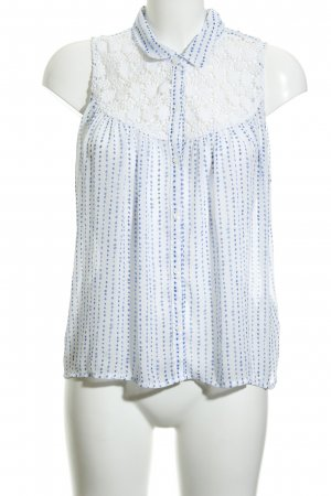 Abercrombie & Fitch Transparenz-Bluse weiß-blau Allover-Druck Casual-Look