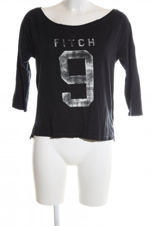 Abercrombie & Fitch Boatneck Shirt black printed lettering casual look