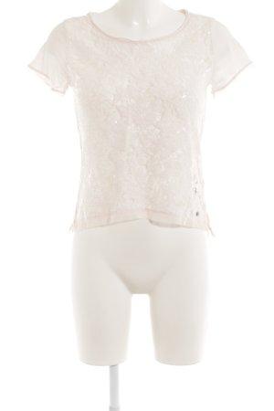 Abercrombie & Fitch U-Boot-Shirt rosé florales Muster Paillettenverzierung