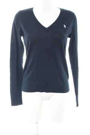Abercrombie & Fitch V-Ausschnitt-Pullover blau Business-Look