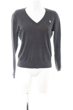 Abercrombie & Fitch V-Ausschnitt-Pullover hellgrau meliert Casual-Look