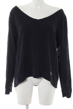Abercrombie & Fitch V-Ausschnitt-Pullover dunkelblau Logostickerei