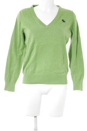 Abercrombie & Fitch V-Ausschnitt-Pullover grasgrün Casual-Look